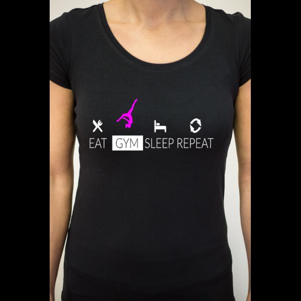 Eat Sleep Gym Repeat Tee-Shirt Femme